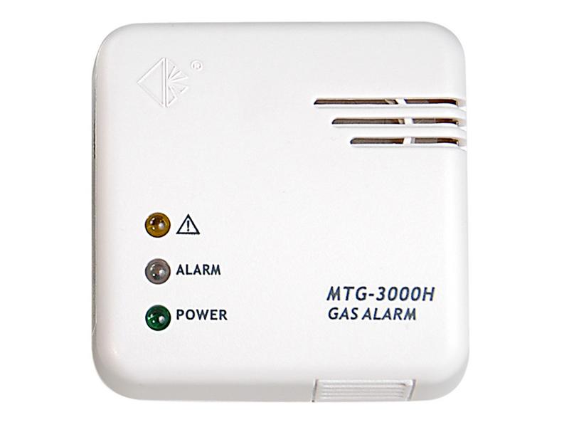 Dujų nuotėkio detektorius MTG-3000H   Kompaktiško dizaino dujų signalizacija, skirta aptikti gamtinių dujų, dujų iš balionų, miesto dujų nuotėkį. Pritaikytas montavimui namuose, kemperiuose, laivuose. Jungiamas prie12V šaltinio (montuojant kemperiuose, laivuose) ir230VAC/12V (montuojant gyvenamosiose patalpose).  Perspėja garsiniu signalu (85 dB) ir LED indikatoriais (žalias - maitinimas įjungtas; raudonas - pavojus; geltonas - klaidos perspėjimas).